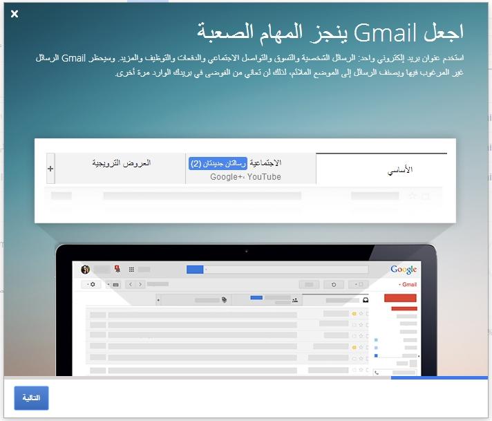 أول رسالة ستظهر أمامك فور دخولك حسابك الجديد على جي ميل
