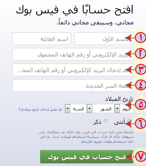 صفحة بدء تسجيل فيس بوك لانشاء حساب جديد