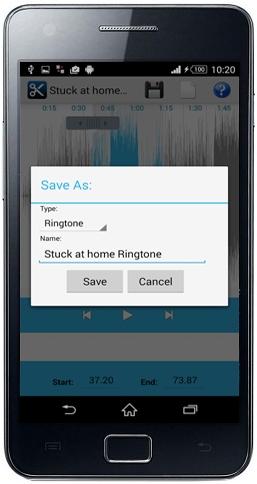 حفظ ملفات الصوت باستخدام تطبيق صنع وعمل النغمات