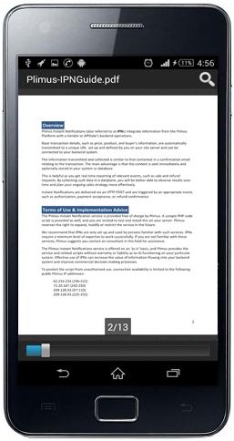 مثال عرض ملف بي دي اف على جوال اندرويد