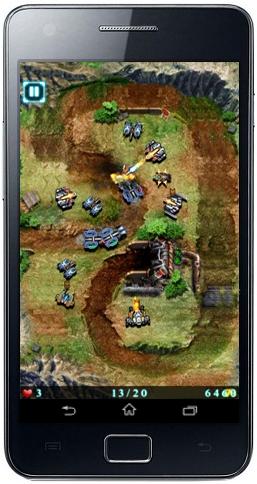 أحد مراحل لعبة جلاكسي ديفنس أثناء دخول العديد من آليات العدو