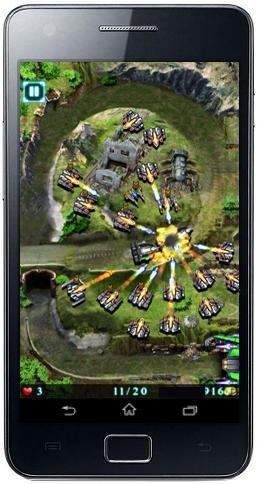 اطلاق النار من الدبابات الصاروخية لتدمير آليات العدو في لعبة Galaxy Defense للاندرويد