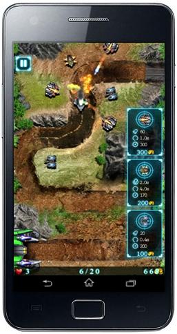 المرحلة الأولى من لعبة جلاكسي ديفنس والدفاع عن البرج