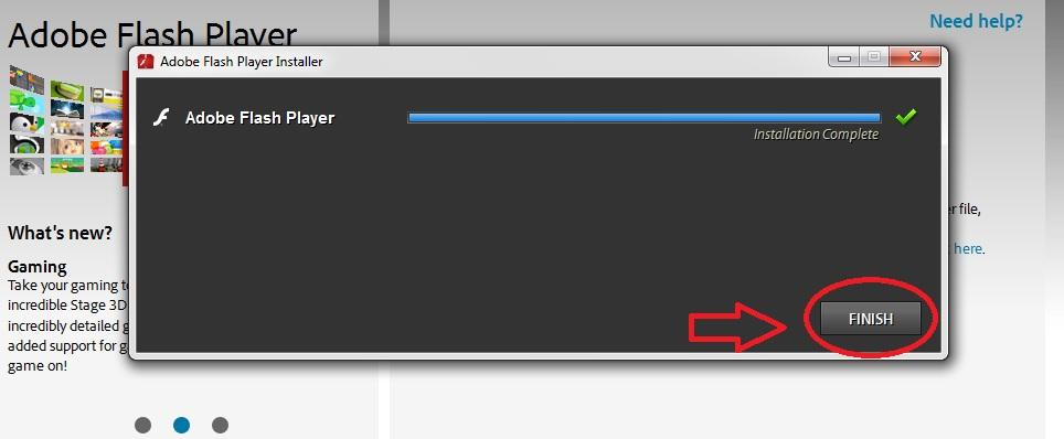 انهاء عملية تثبيت برنامج أدوبي فلاش بلير